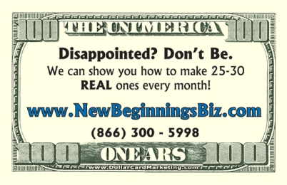 Dollar Bill Business Cards Drop Cards And Sizzle Cards Marketing